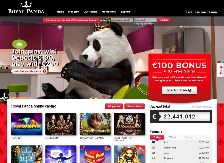 Royal panda casino review screenshot