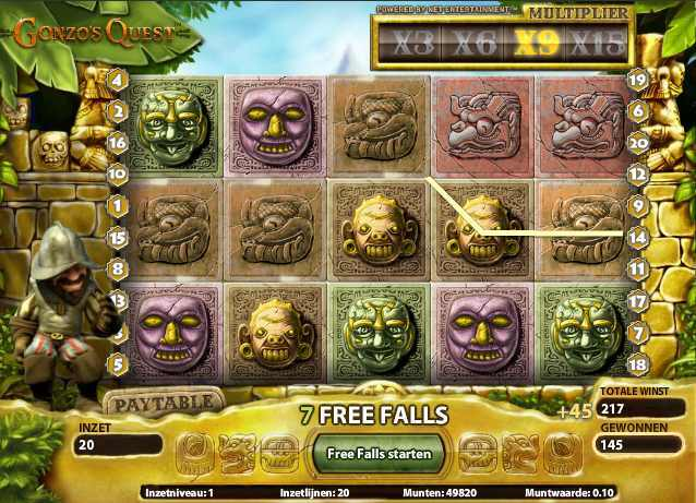 Gonzo´s Quest slot - Big wins, bonus & free spins