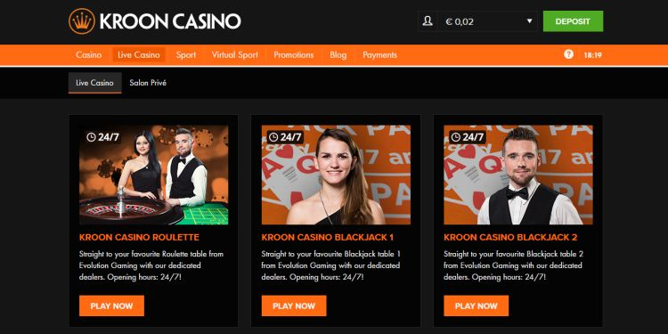 Kroon casino live roulette