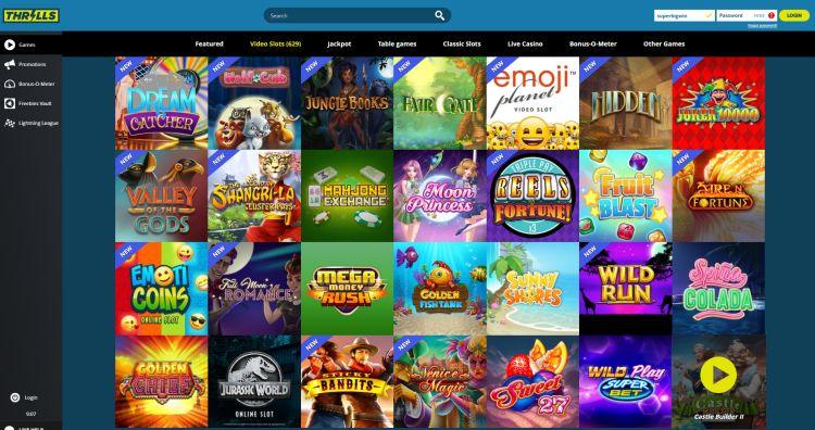 Thrills casino review spelaanbod