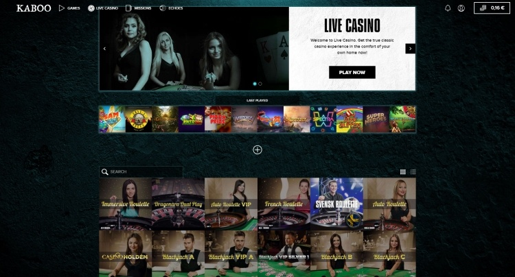Kaboo review live casino