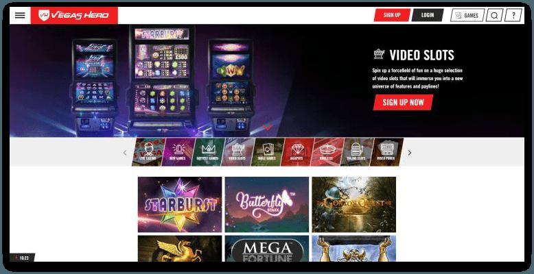 Vegas Hero Casino review spelaanbod