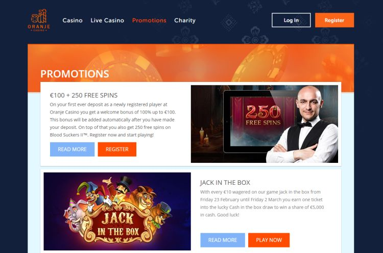Oranje Casino review welkomstbonus